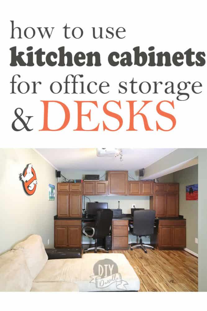 how to use kitchen cabinets for office storage and desks.