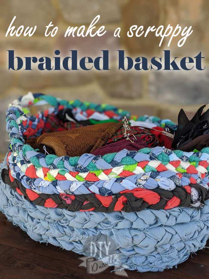 how to make a braided basket from scraps!
