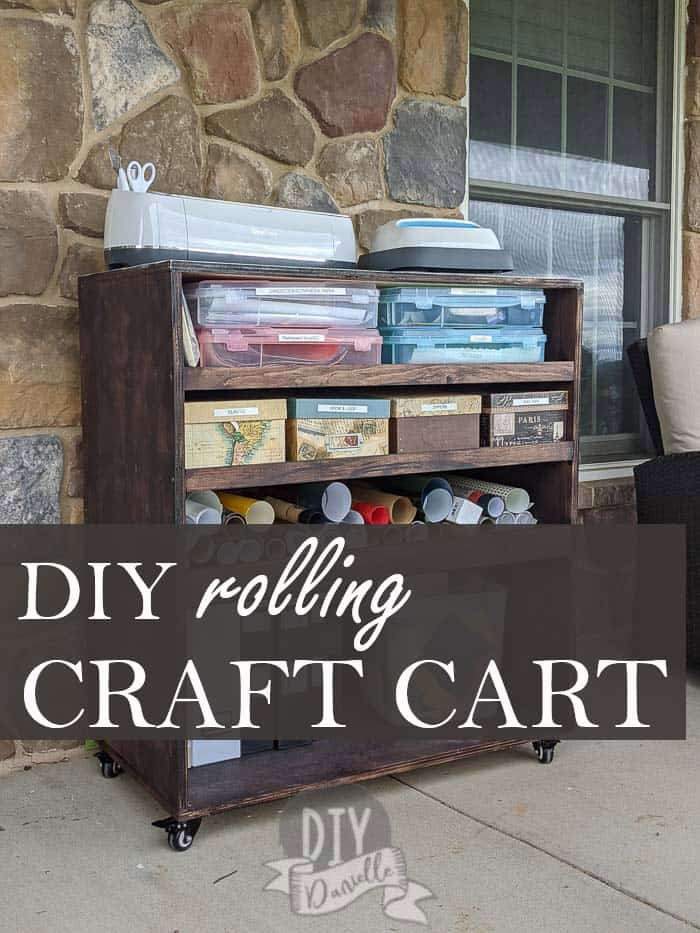 DIY Rolling Craft Cart with Cricut and EasyPress on top.