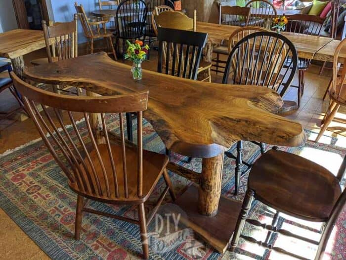 Table made from wood harvested on site.