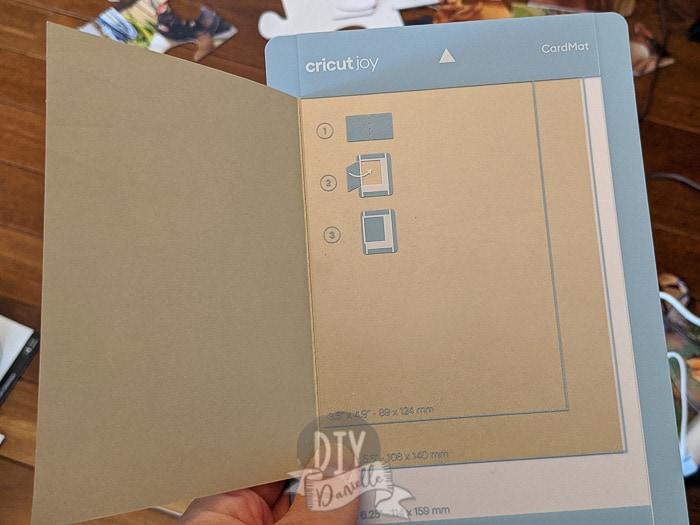 Card slid into the Cricut Joy cardmat.