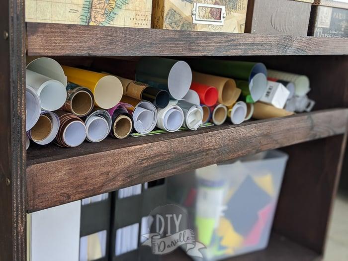 Storage for rolls of vinyl.