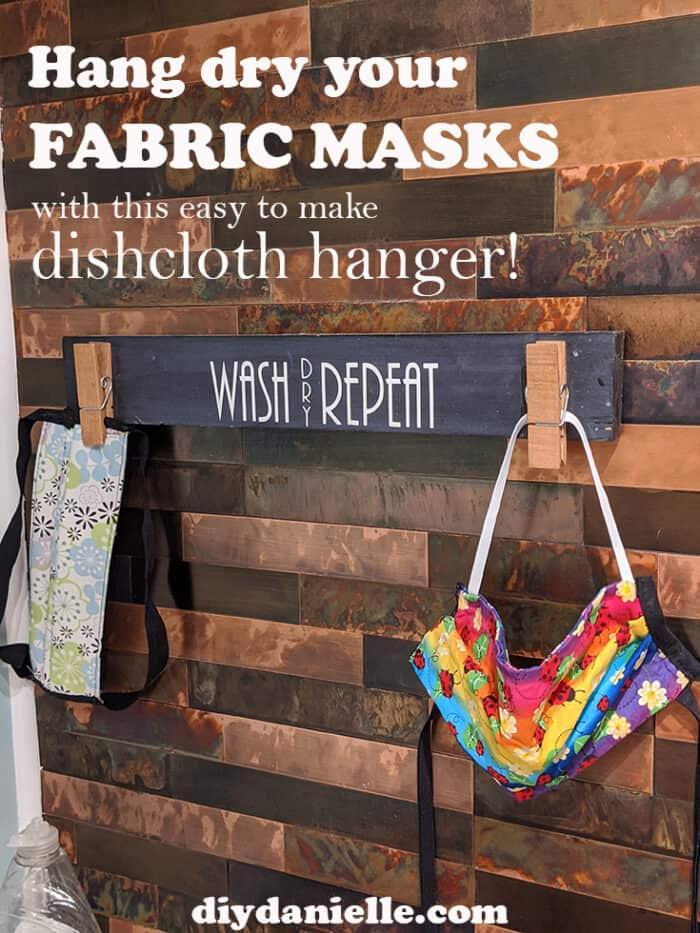 Hang drying masks with my dishcloth hanger! PERFECT!