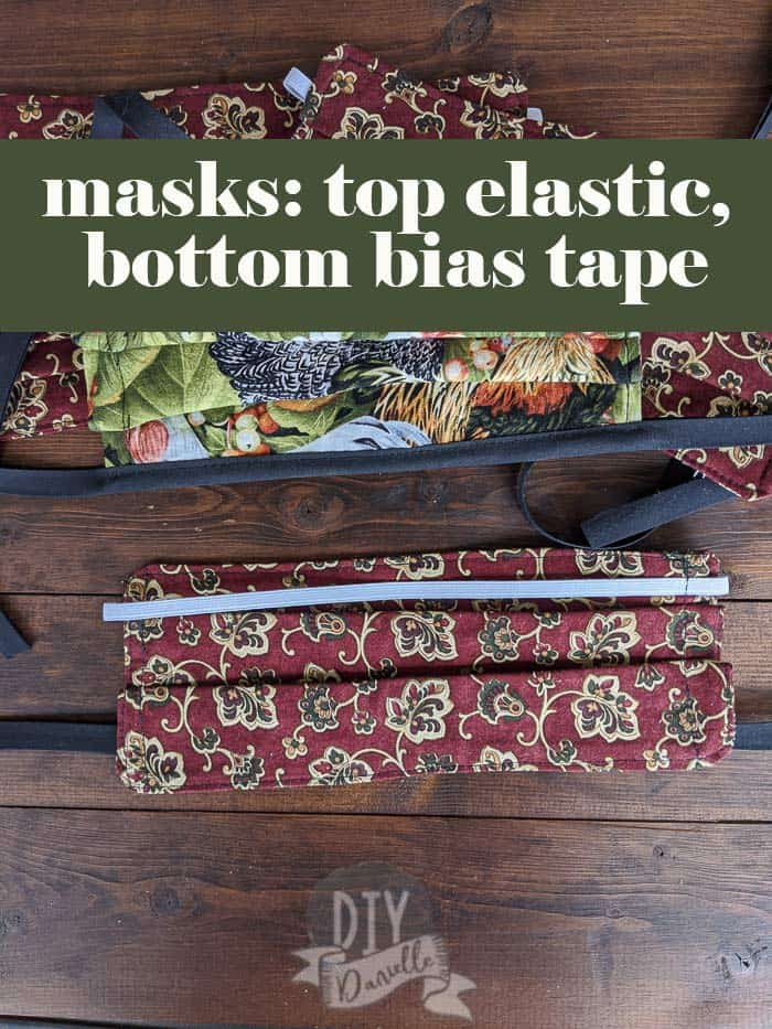 These masks were made with elastic to go around the back of the head and bias tape to tie around the neck.