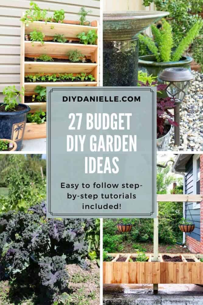 collage of 4 budget garden ideas
