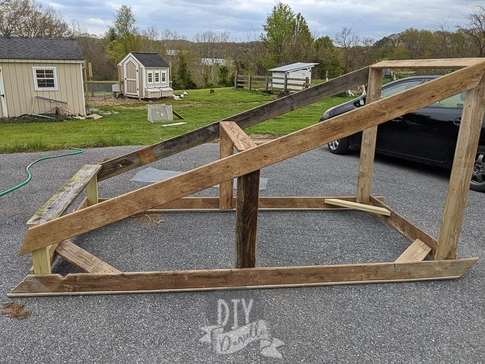 Frame for the chicken tractor in the driveway before adding wire.