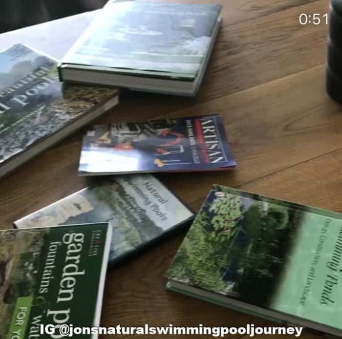 Books and DVDs used while researching swimming ponds.