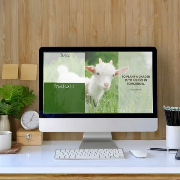 Spring Photo of Goat for DeskTop Wallpaper with Quote and Organization Area