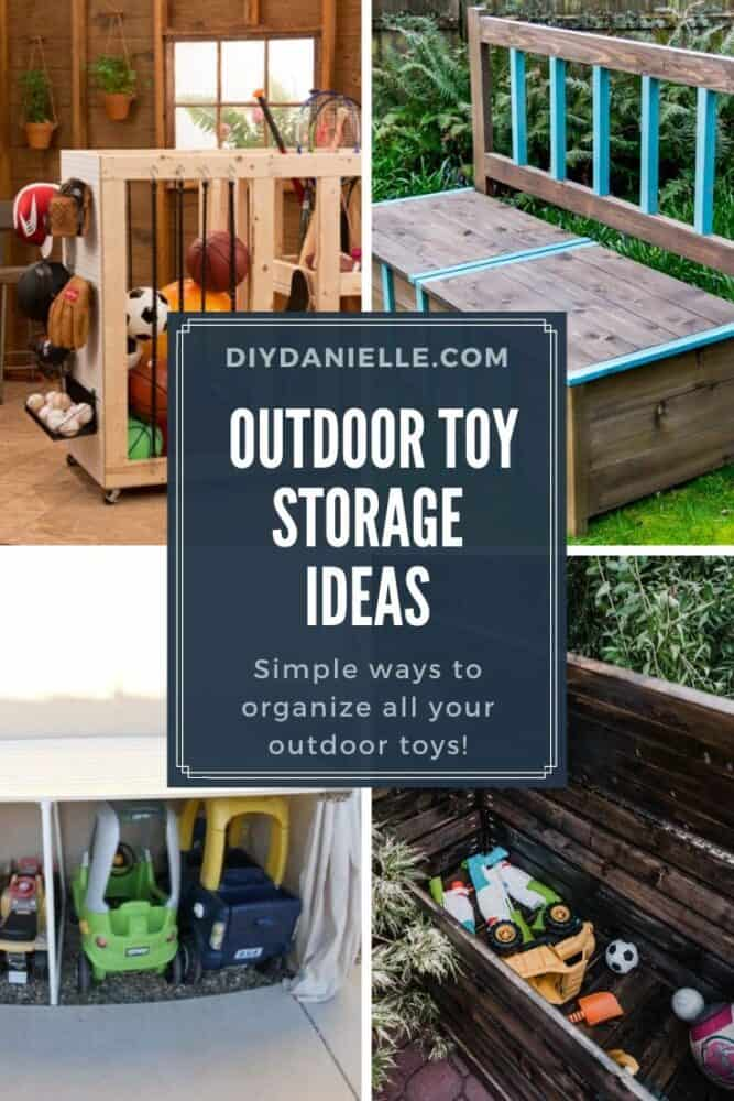 Outdoor Toy Storage Ideas.   4 Photos:  Top left--- Rolling cart for balls and sports equipment Top right--- turquoise trim and stained wood storage bench Bottom left--- Garage for ride on toys  Bottom right--- Open stained wood storage chest