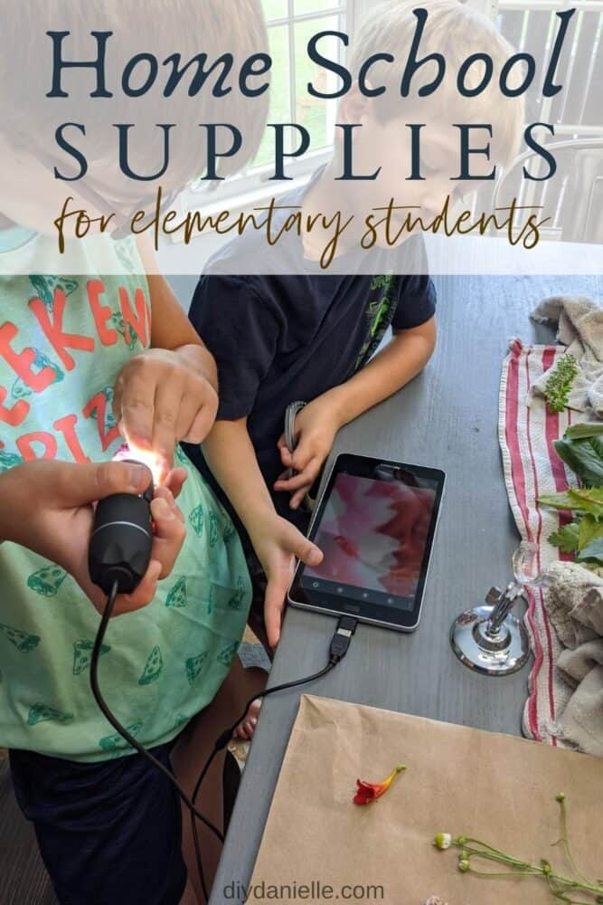 Homeschool supplies for elementary students: Two boys, ages 7 and 9, using a small microscope and tablet to look at a variety of flowers, leaves, and stems.