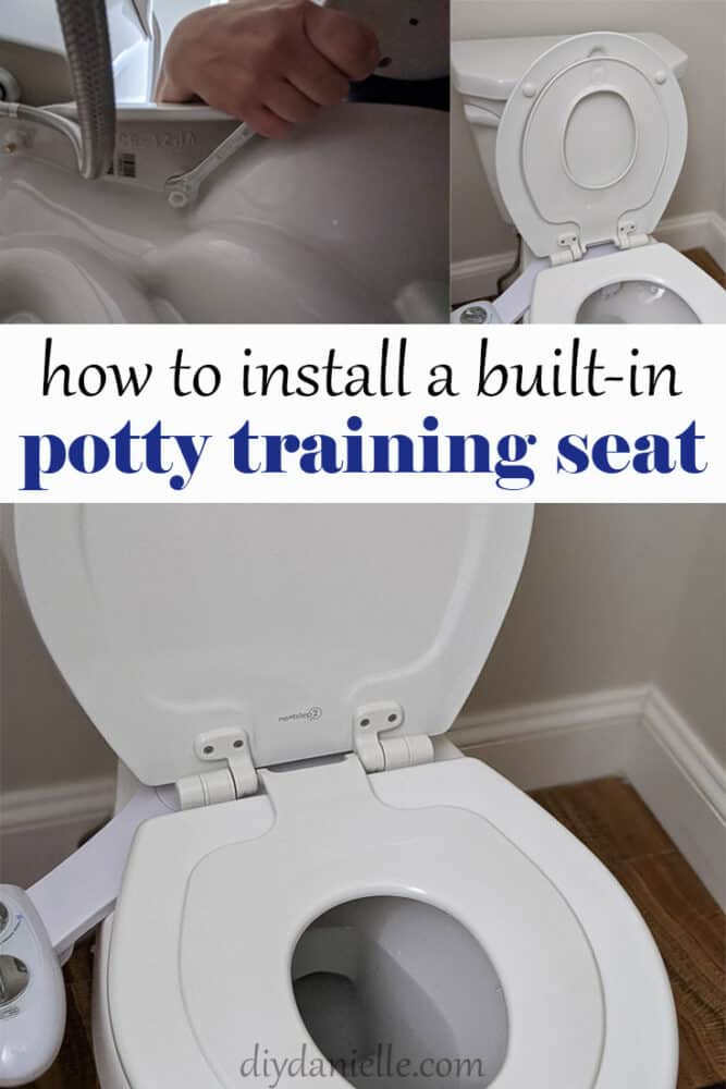 How to install a built in potty training seat.  Photo of seat with an extra smaller toilet seat for kids... positioned up and down in two photos and a third photo shows how to tighten the screws.