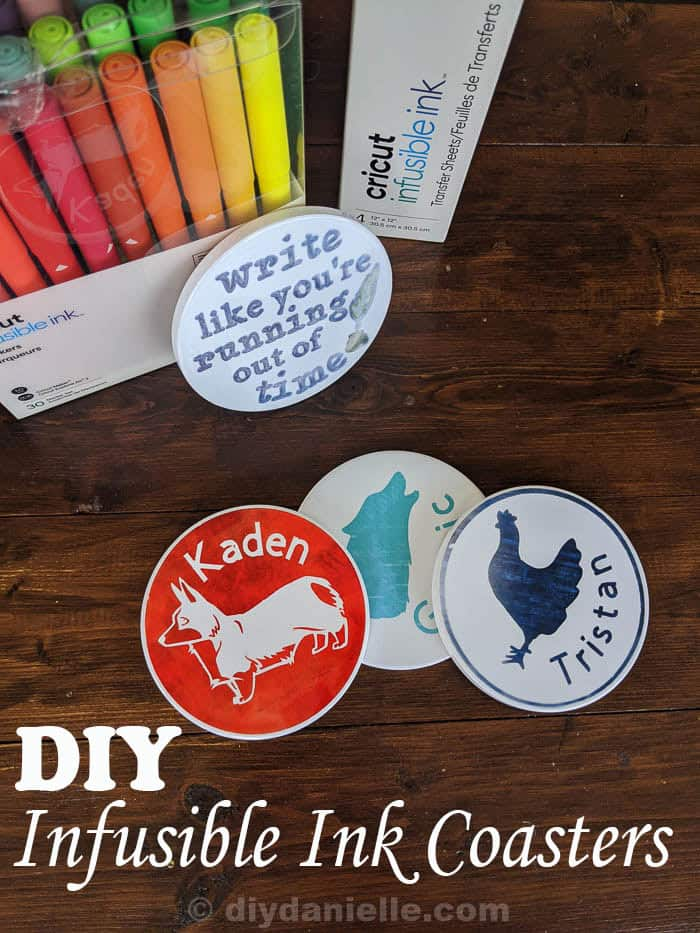 """4 Infusible ink coasters made with Infusible Ink transfer sheets and Infusible Ink pens. Pens and sheets pictured. Text on one coaster says """"Write like you're running out of time."""" The other three have an animal and a child's name on each."""