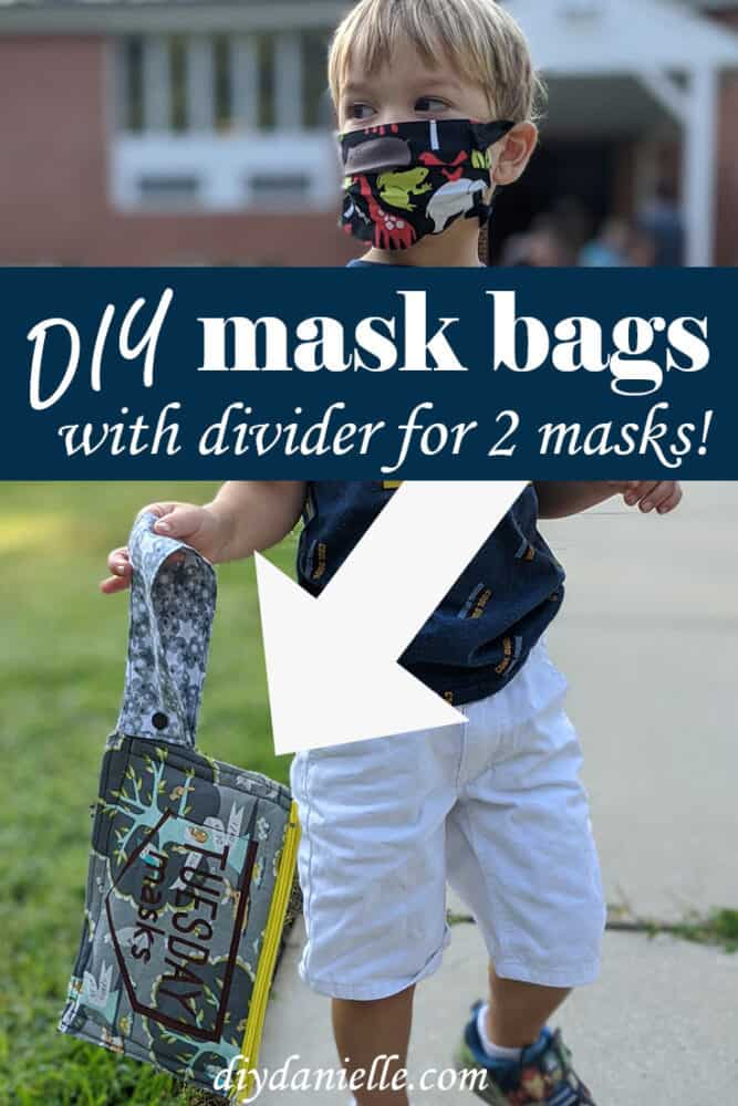 Easy to make bags to hold masks for school! Learn how to make them on DIYDanielle.com