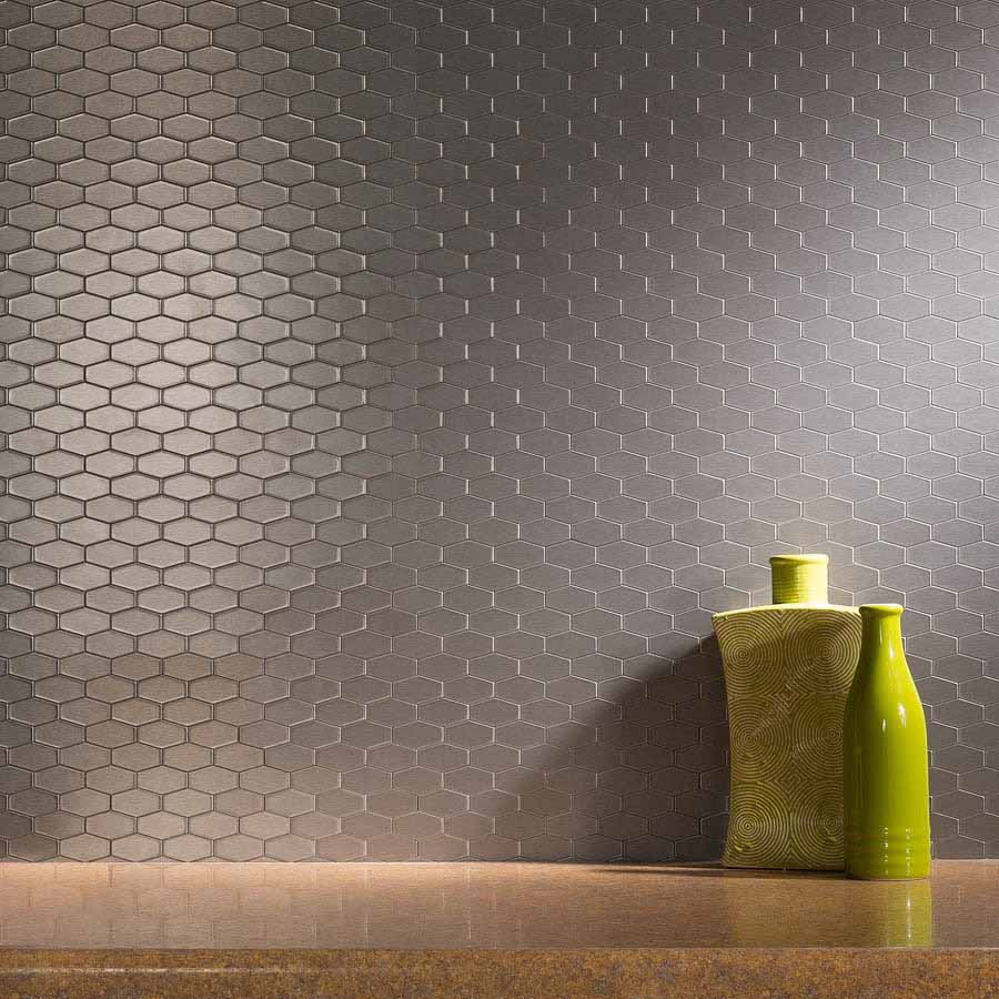 Aspect Backsplash-Wide Hex Brushed Stainless Matted