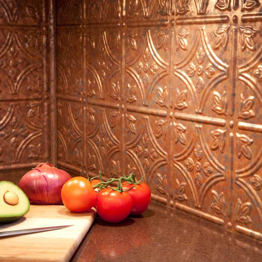 Fasade Backsplash - Traditional 1 in Cracked Copper