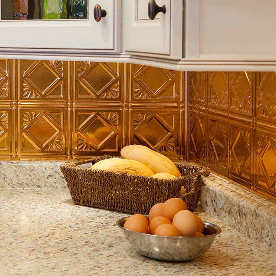 Fasade Backsplash - Traditional 4 in Polished Copper