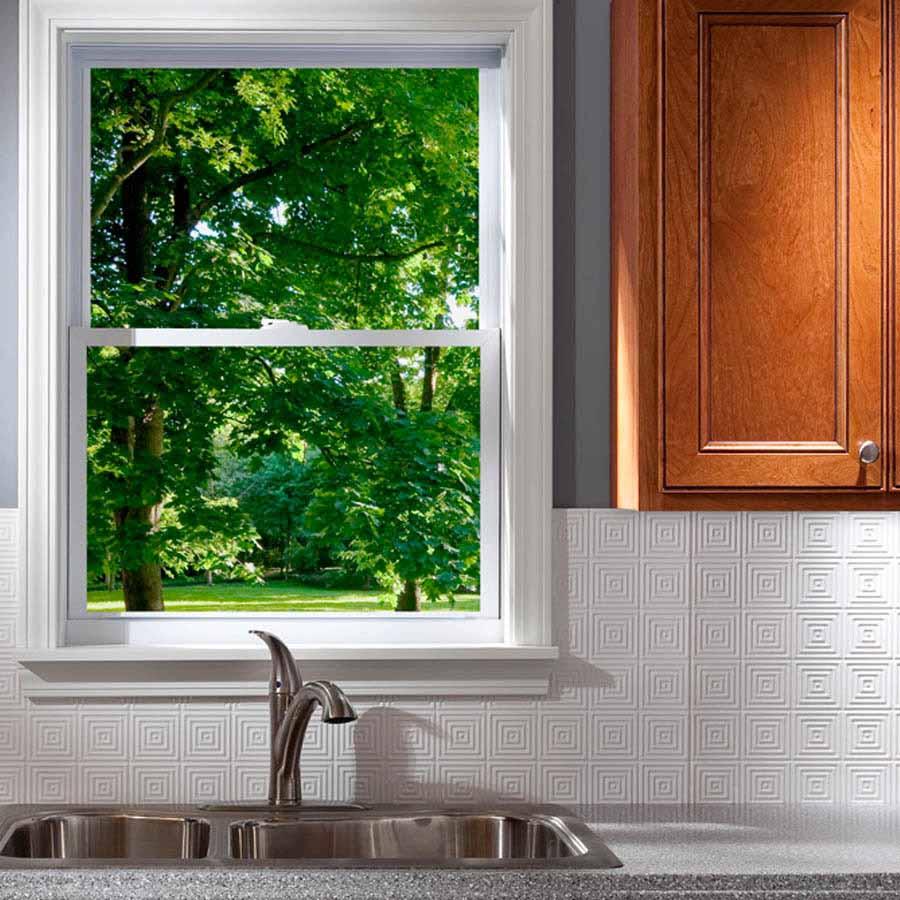 Fasade Backsplash - Miniquattro in Gloss White