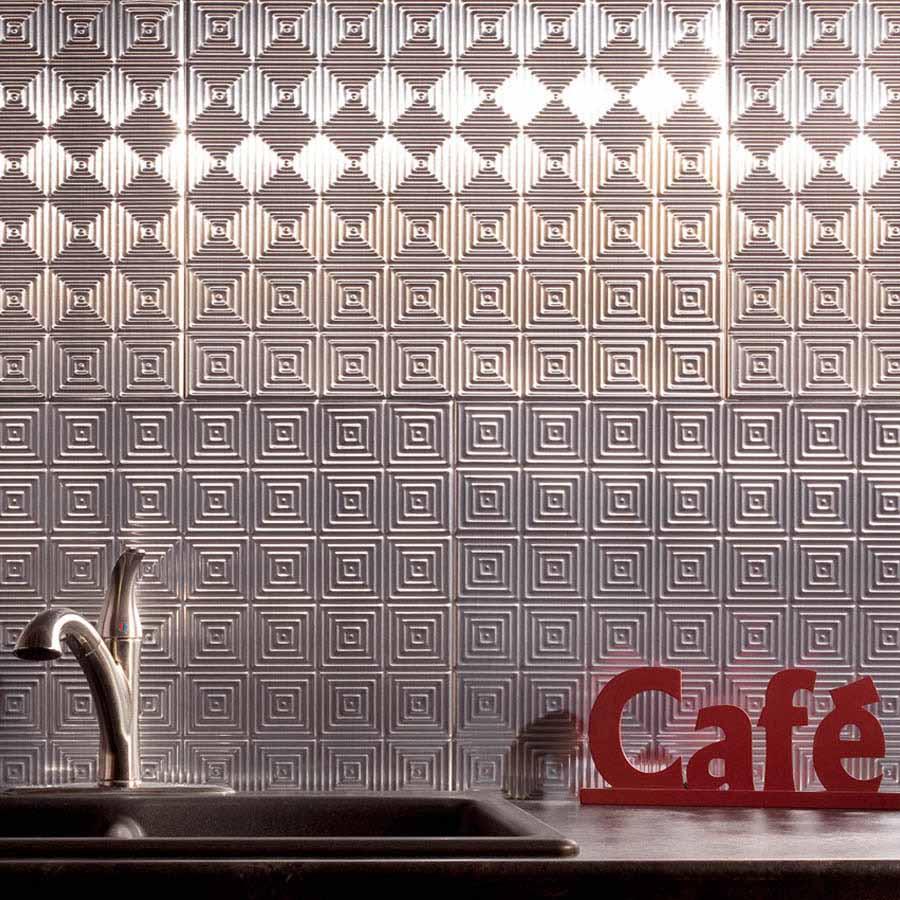 Fasade Backsplash - Miniquattro in Brushed Aluminum
