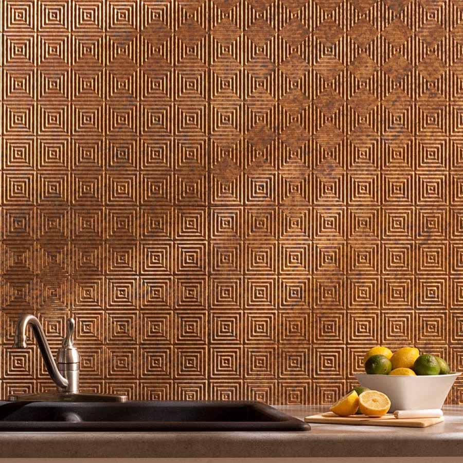 Fasade Backsplash - Miniquattro in Cracked Copper