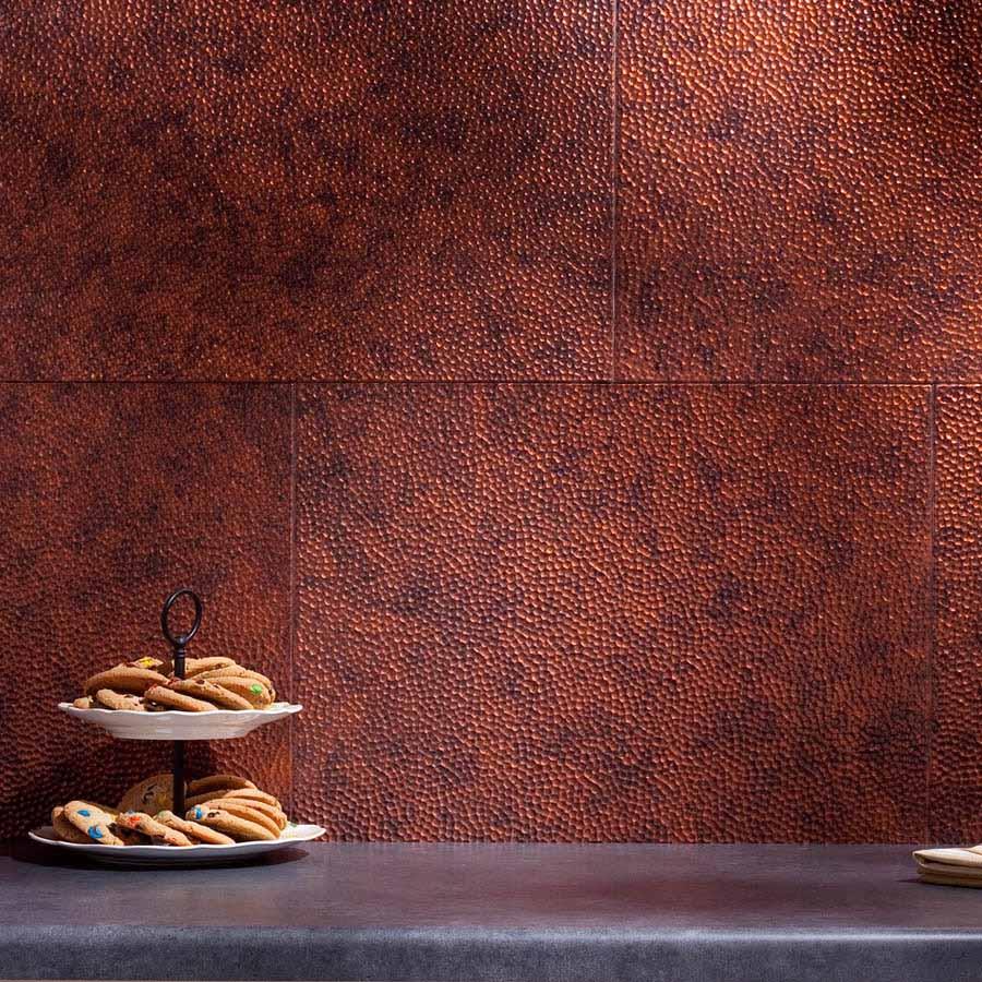 Fasade Backsplash - Hammered in Moonstone Copper