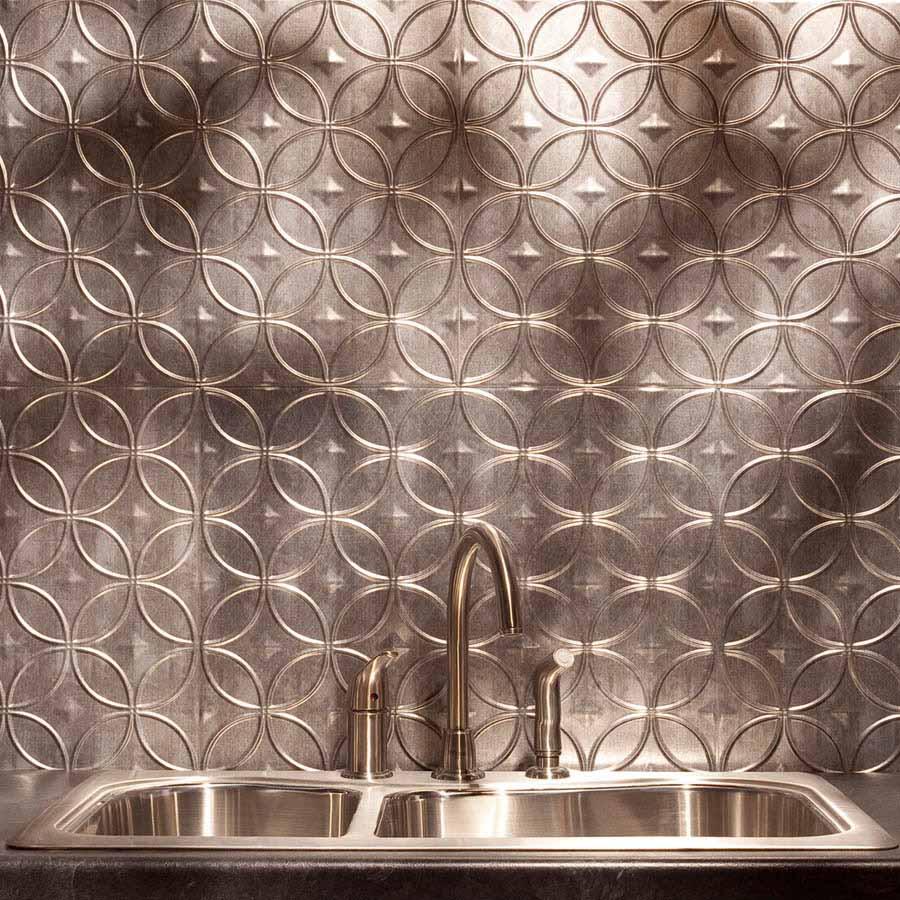 Fasade Backsplash - Rings in Crosshatch Silver