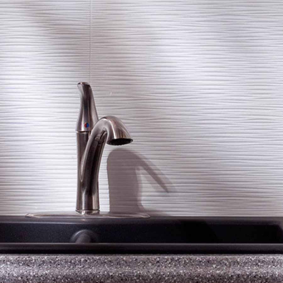 Fasade Backsplash - Ripple in Gloss White