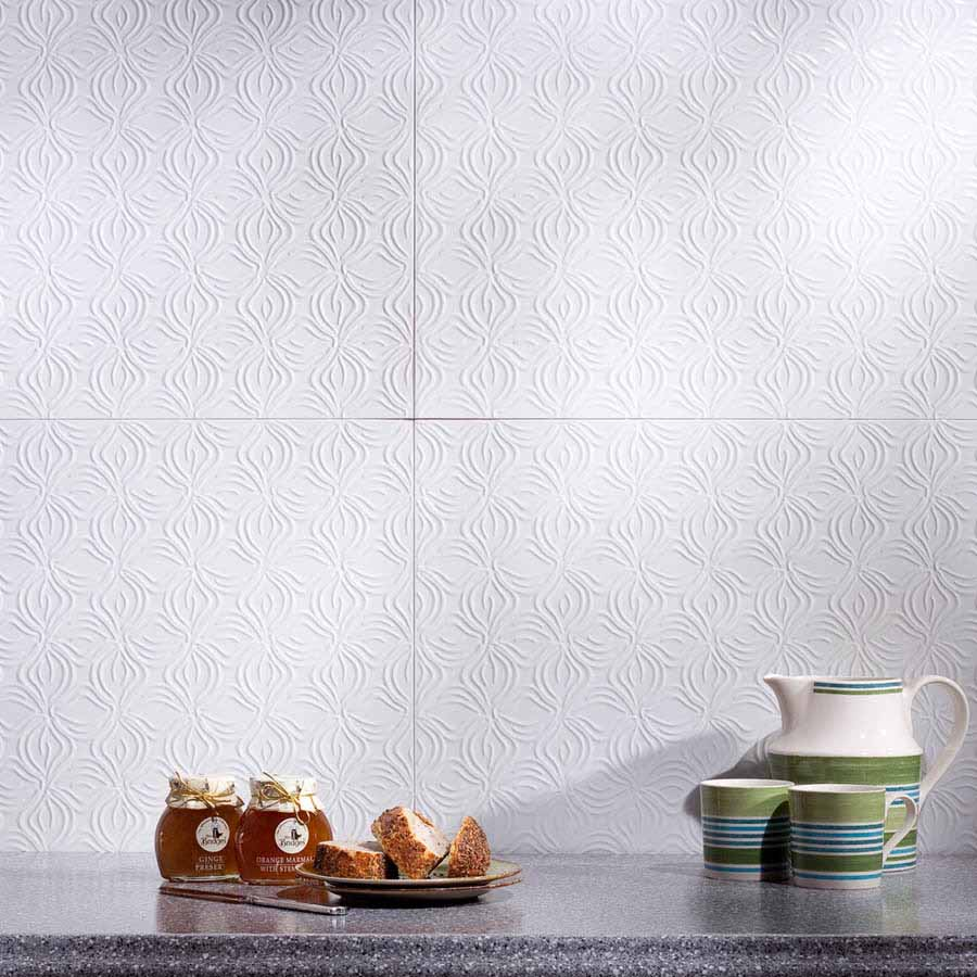 Fasade Backsplash - Lotus in Gloss White