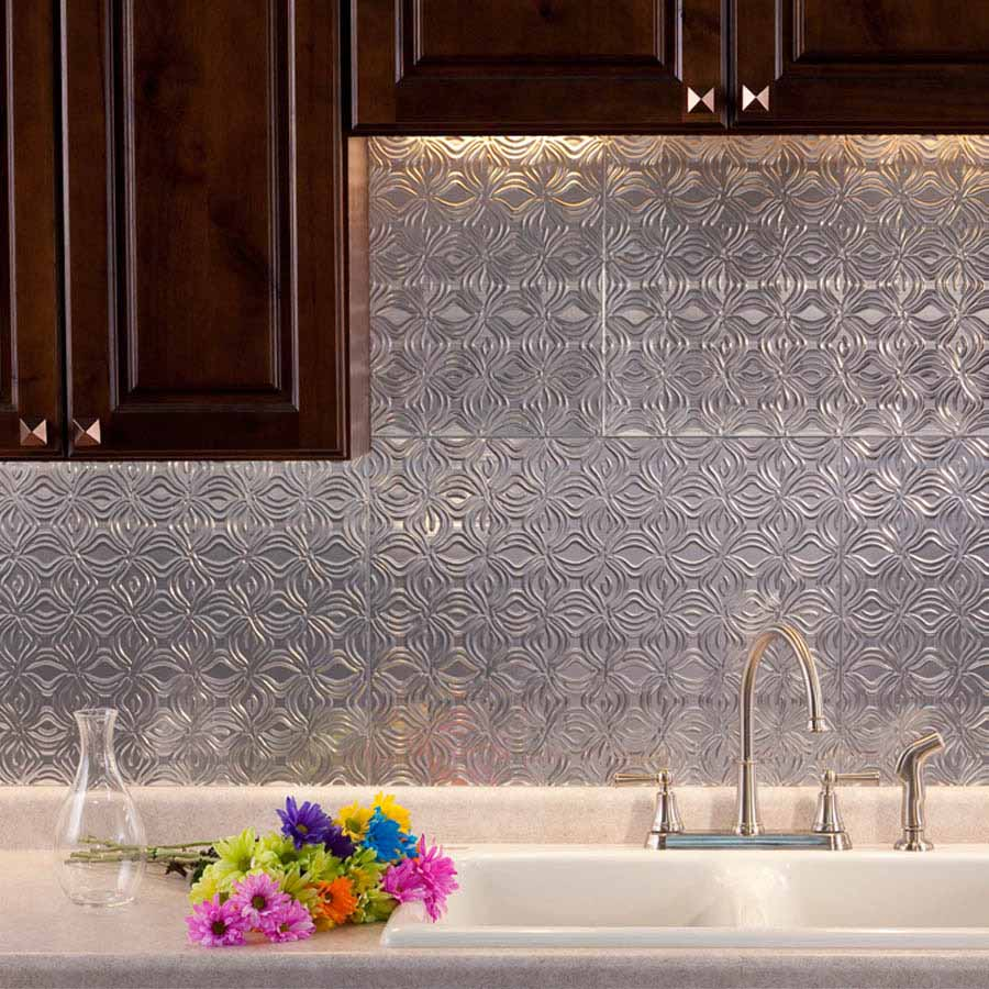 Fasade Backsplash - Lotus in Brushed Aluminum