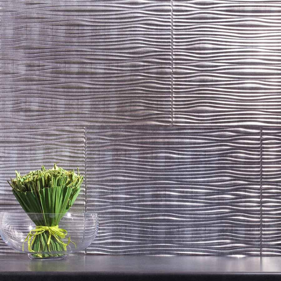 Fasade Backsplash - Waves in Crosshatch Silver