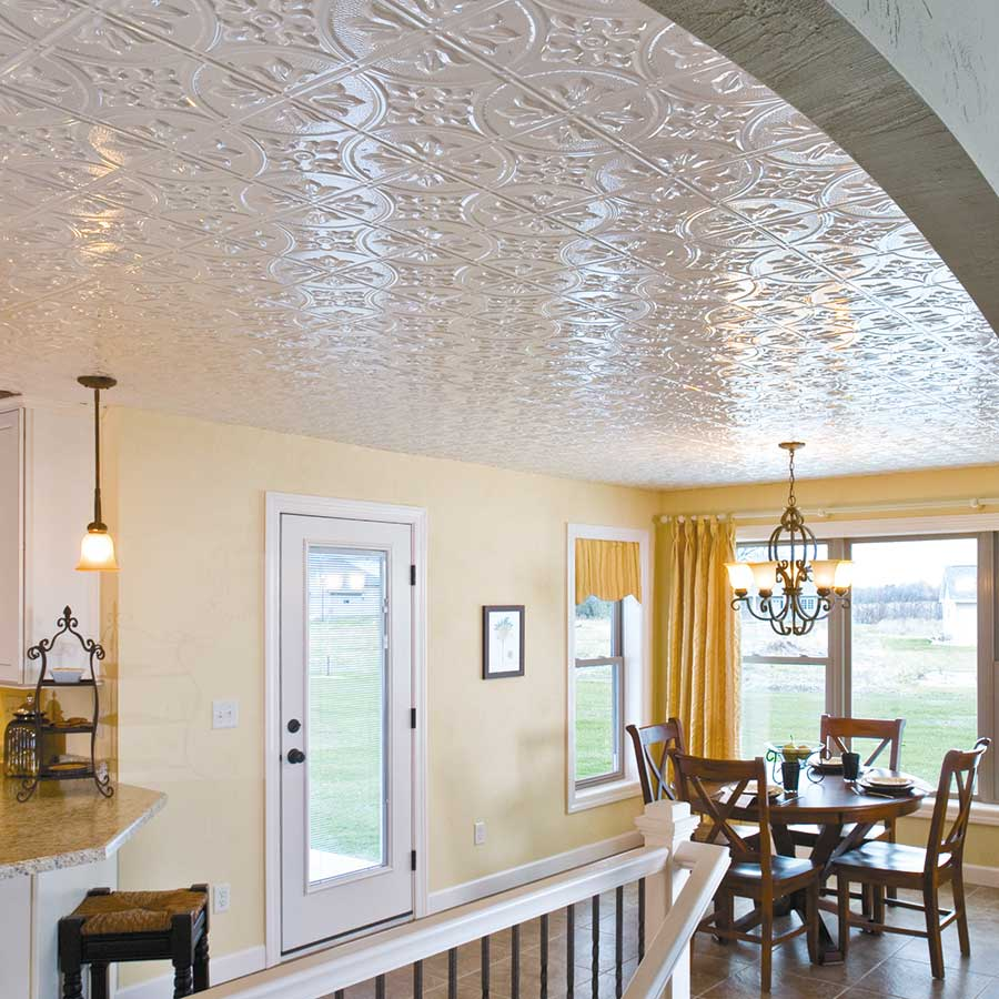 Fasade Ceiling Tile-2x4 Direct Apply-Traditional 2 in Gloss White