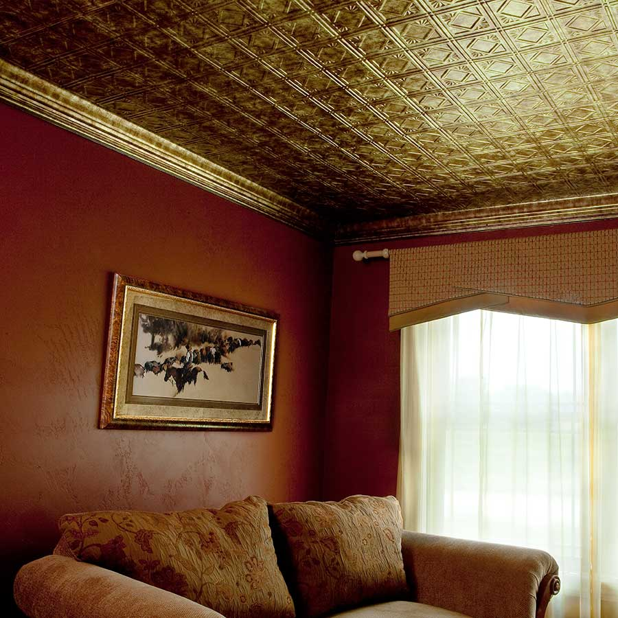 Fasade Ceiling Tile-2x4 Direct Apply-Traditional 4 in Bermuda Bronze