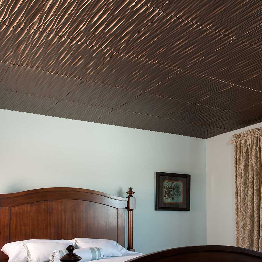 Fasade Ceiling Tile-2x2 Direct Apply-Dunes (Vertical) in Oil-Rubbed Bronze