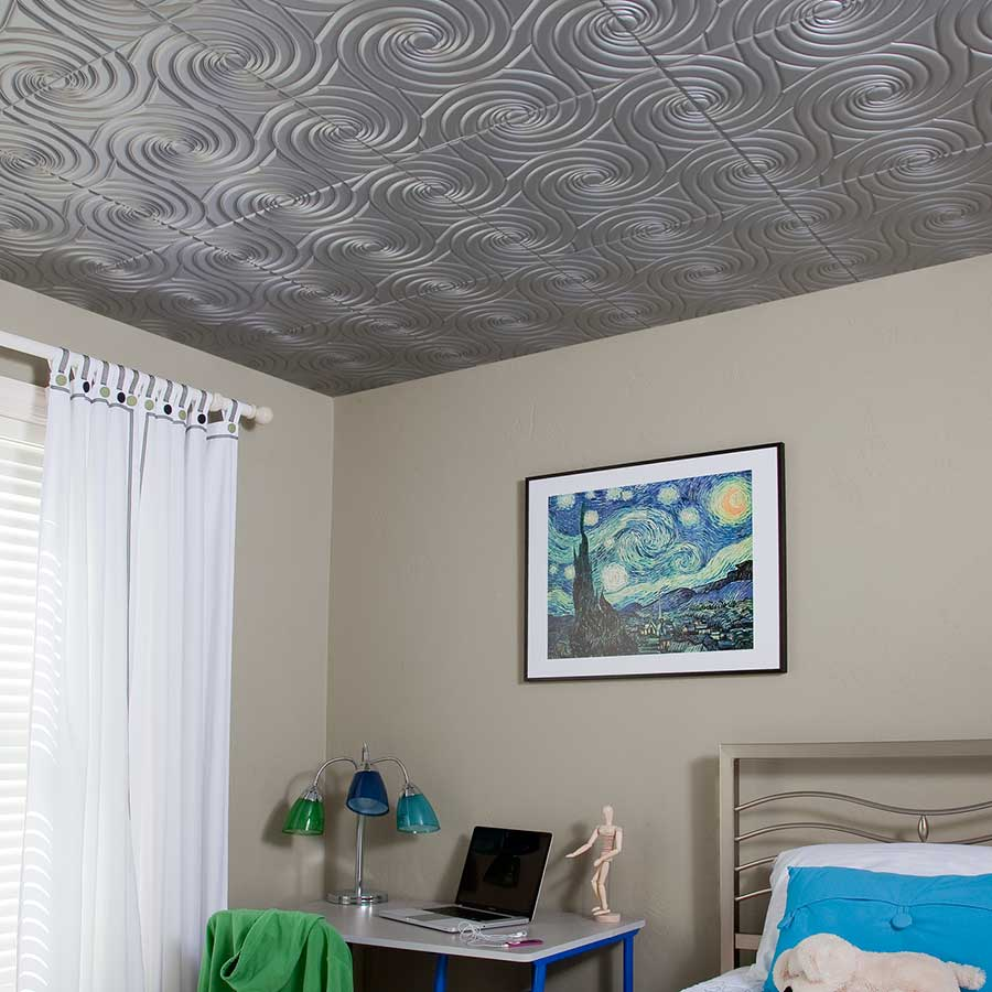 Fasade Ceiling Tile-2x2 Direct Apply-Typhoon in Argent Silver
