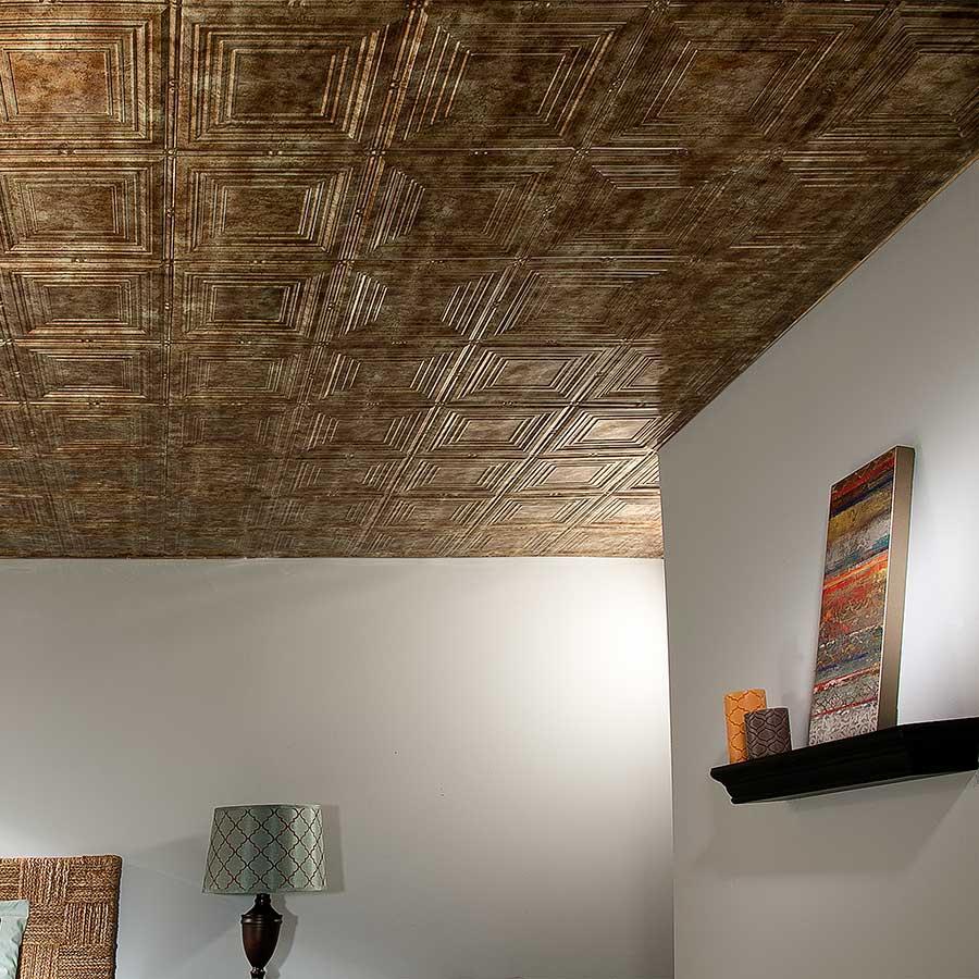 Fasade Ceiling Tile-2x4 Direct Apply-Regalia in Bermuda Bronze