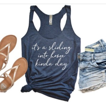 Baseball mom tank. It's a sliding into home kind of day.