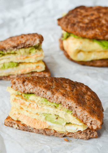 Easy low carb meals. Keto breakfast sandwich.