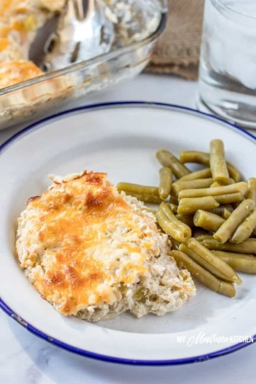 Low carb meals for busy people. Green chili chicken casserole.