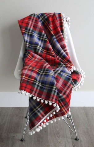 Easy DIY Blanket Fleece with Pom Pom Fringe