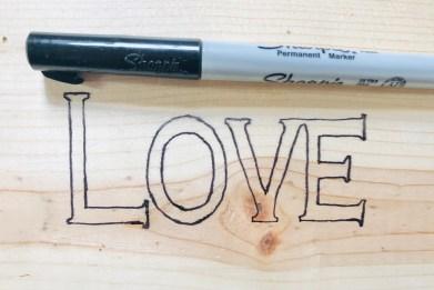 Sharpie to trace stencil.
