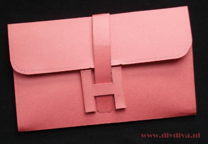 Hermes jige clutch tas karton diydiva