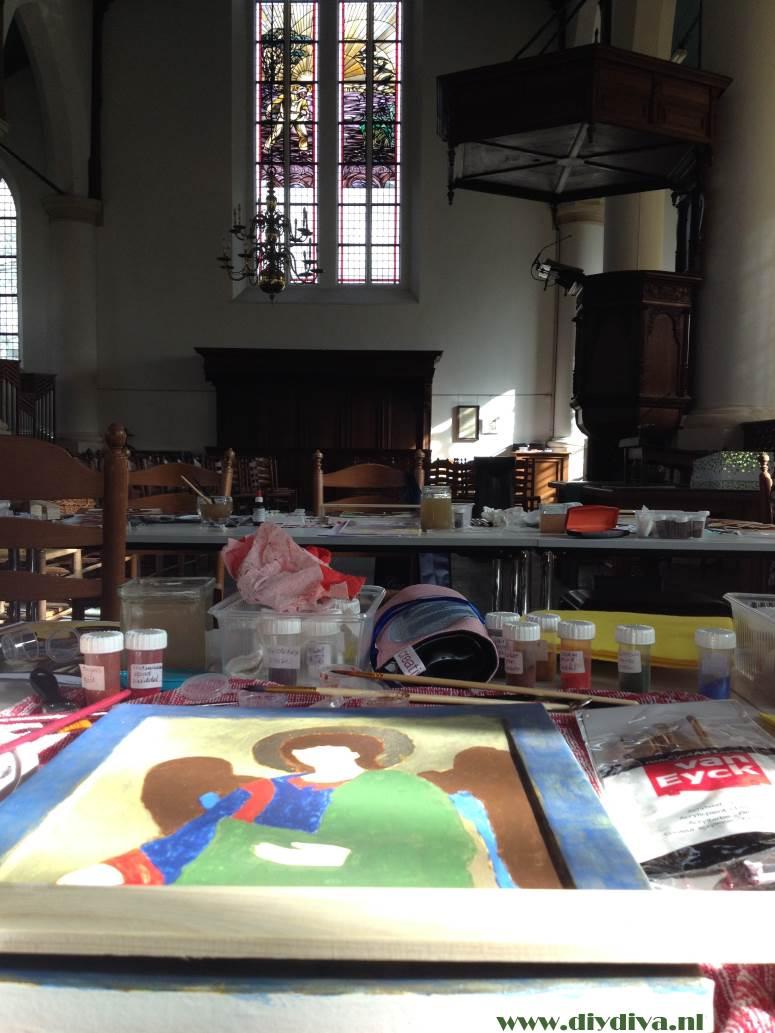 ikonen schilderen in kerk