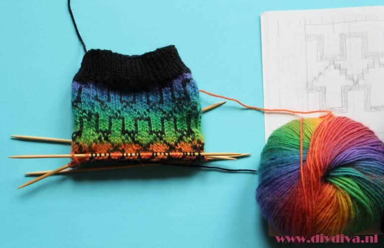 regenboog merino wol sokken diydiva