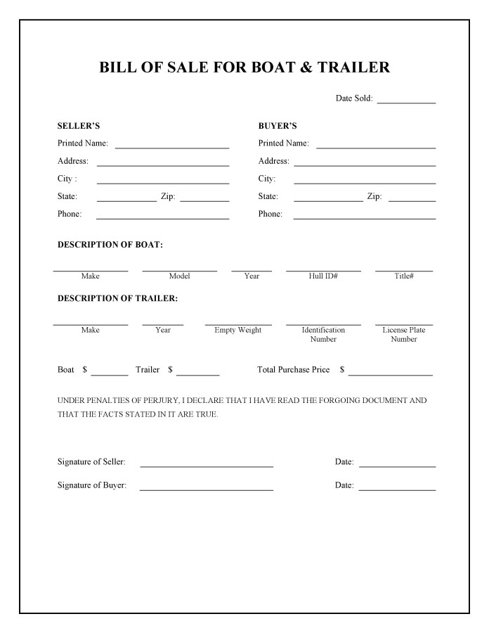 Free Boat And Trailer Bill Of Sale Form Pdf Word Do It Yourself Forms