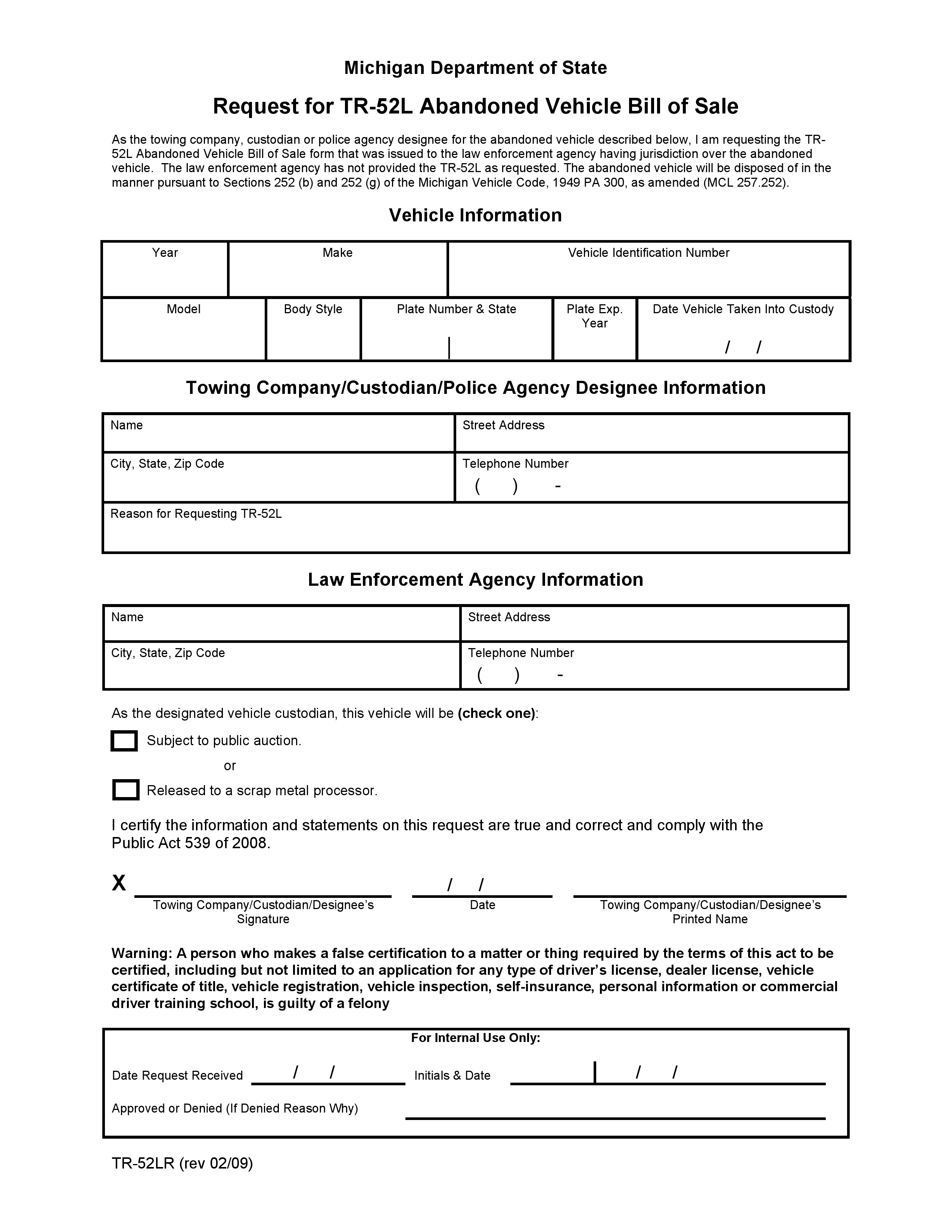 Free Michigan Abandoned Vehicle Bill Of Sale PDF Word Do It Yourself Forms