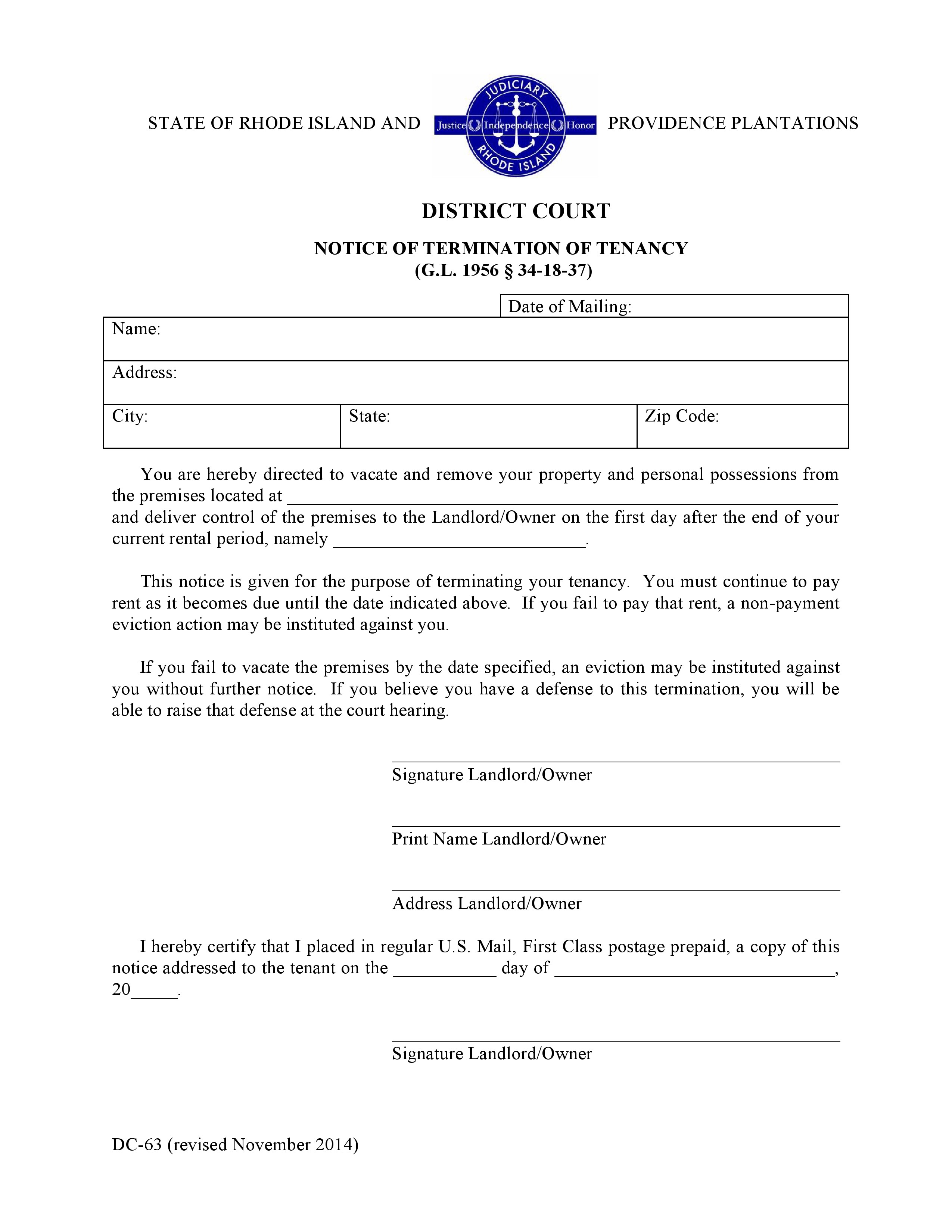 Free Rhode Island Notice Of Termination Of Tenancy PDF Word Do It Yourself Forms