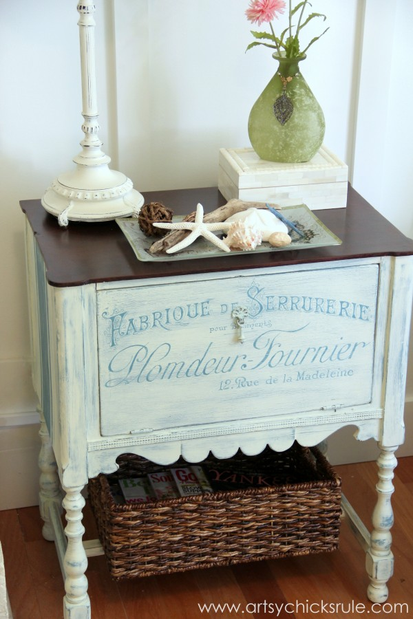 French Graphic Cabinet Makeover by Artsy Chicks Rule