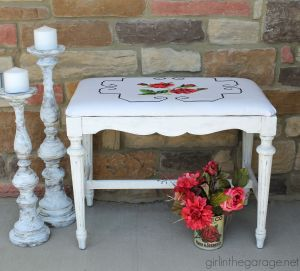Antique Bench with Vintage Pillowcase