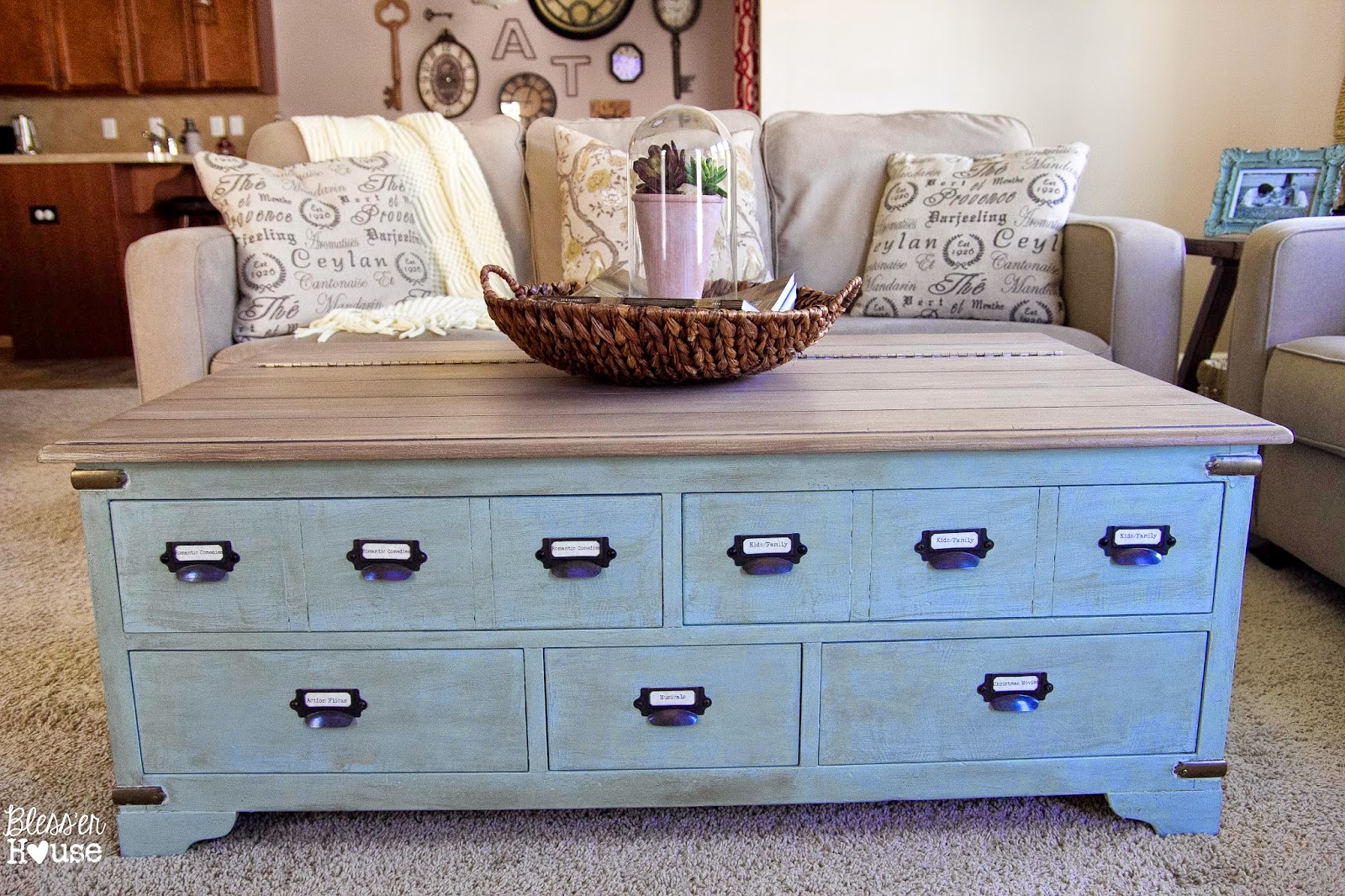 Faux Planked Card Catalog Coffee Table Makeover - by Bless'er House