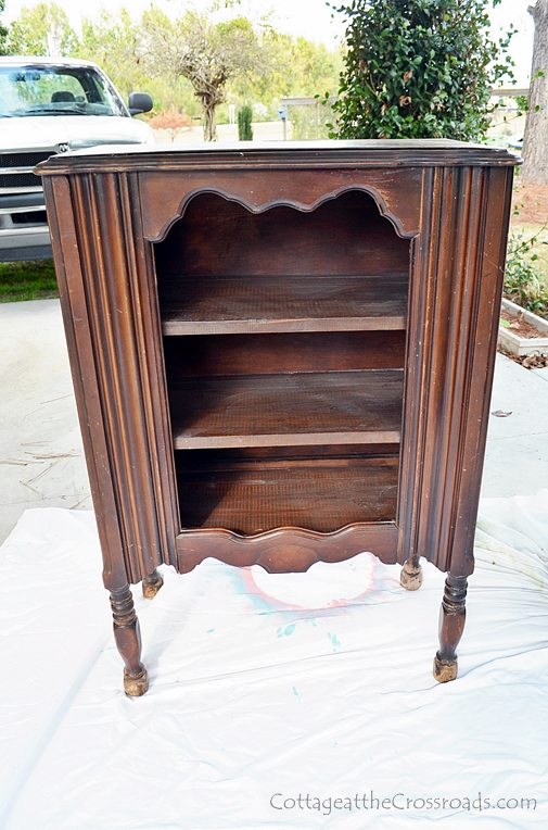 (Before) Antique cabinet makeover in red homemade chalky paint - by Cottage at the Crossroads