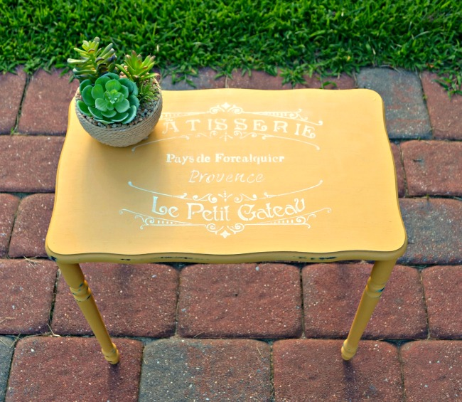 Vintage painted and stenciled table makeover - by One Artsy Mama
